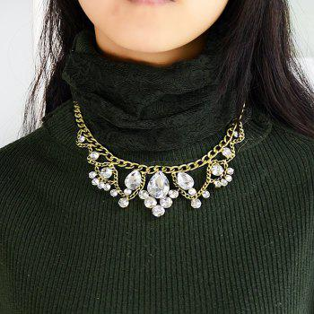 Beautiful Rhinestone Big Statement Collar Necklace for Women - multicolor