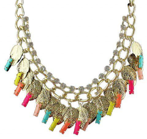 Metal Chain Colorful Gemstone Rhinestone Leaf Necklace - multicolor A
