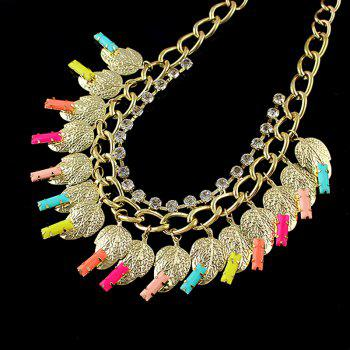Collier de feuille de strass - multicolor A