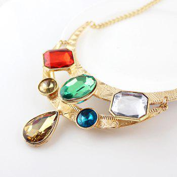 Colorful Gemstone Geometry Pendant Necklace for Women - multicolor