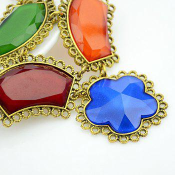 Metal Link Chain with Colorful Geometric Flower Stone Collar Necklace - multicolor