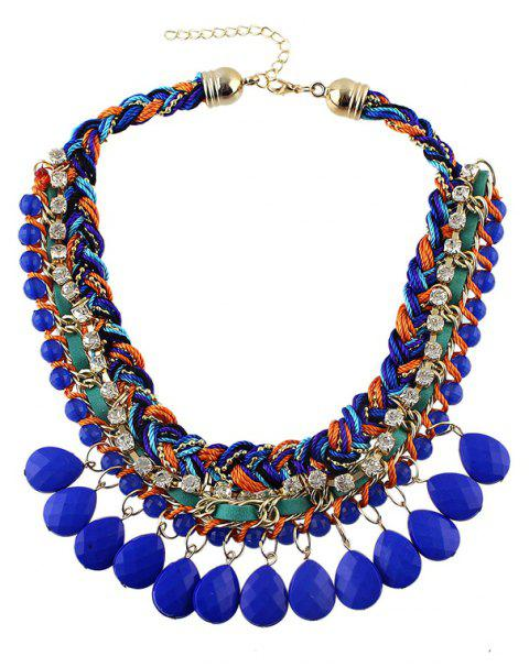 Braided Bead Rhinestone Multilayer Chain Necklace with Water Drop Resin - multicolor A