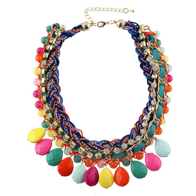 Braided Bead Rhinestone Multilayer Chain Necklace with Water Drop Resin - multicolor B