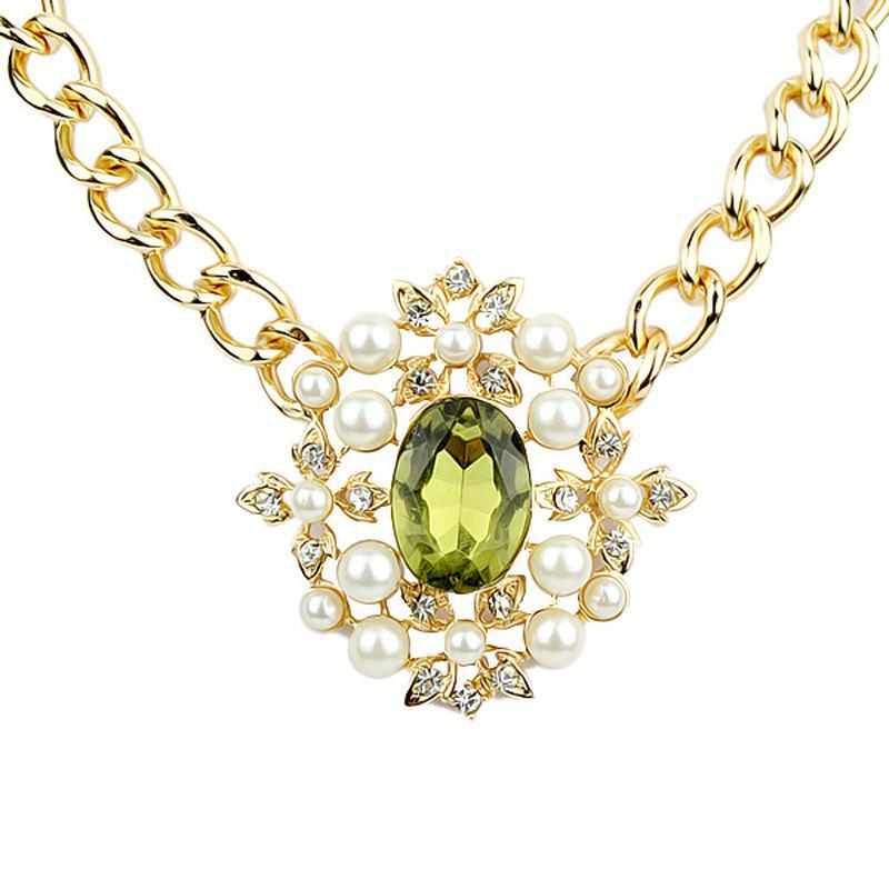 Extravagant Gemstone Hollow-out Geometry Pendant Necklace - multicolor A