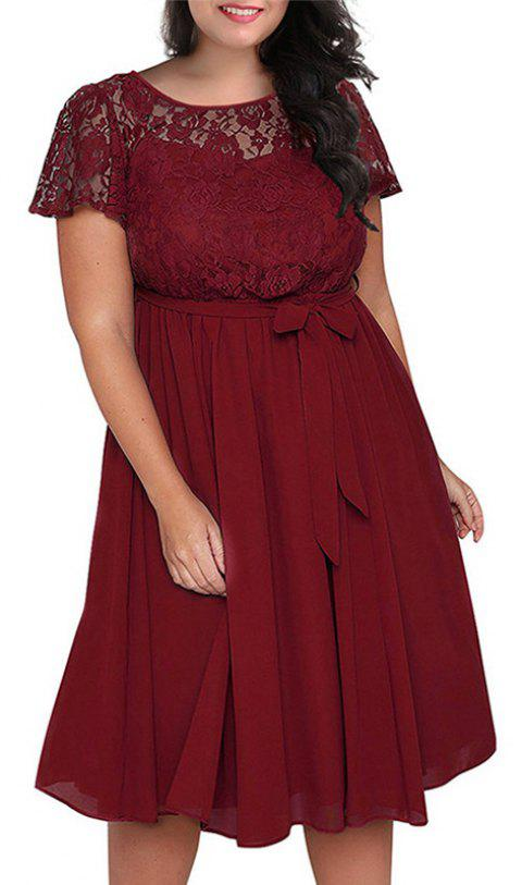 Solid Color Lace Short Sleeve Dress - RED WINE 3XL