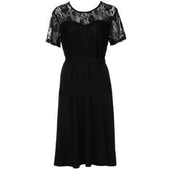 Solid Color Lace Short Sleeve Dress - BLACK 2XL
