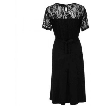 Solid Color Lace Short Sleeve Dress - BLACK 3XL