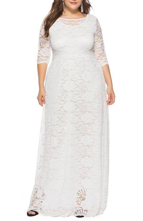 Hollow Out 1/2 Length Sleeve Lace Pocket Party Dress - WHITE 4XL
