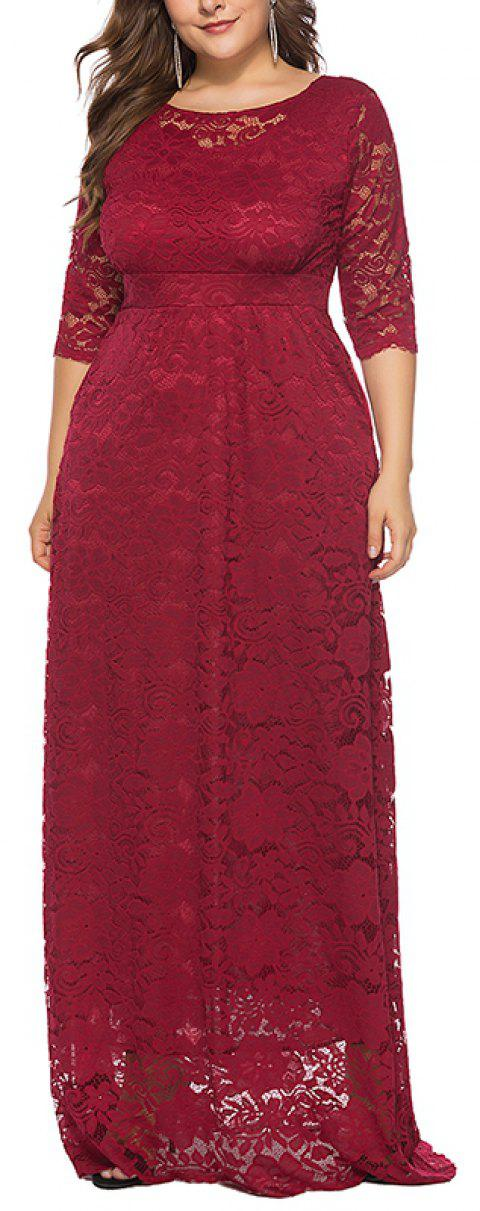 Hollow Out 1/2 Length Sleeve Lace Pocket Party Dress - RED WINE 5XL