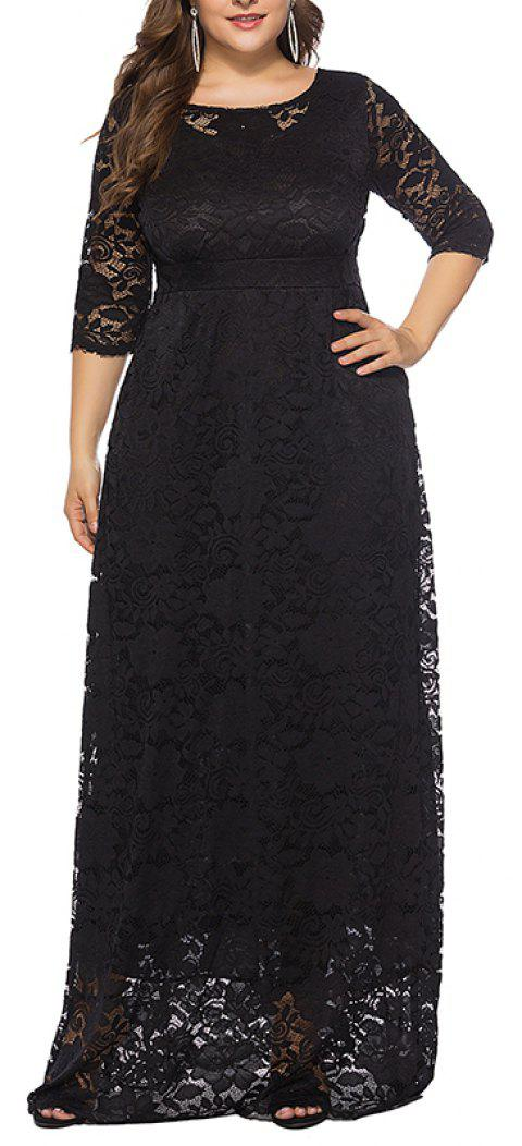 Hollow Out 1/2 Length Sleeve Lace Pocket Party Dress - BLACK 6XL
