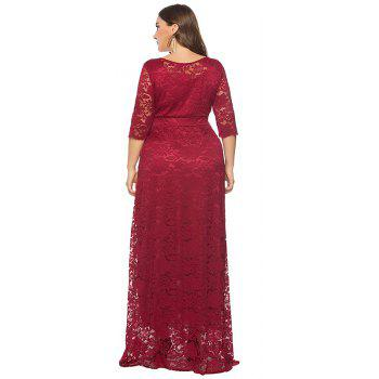 Hollow Out 1/2 Length Sleeve Lace Pocket Party Dress - RED WINE 2XL