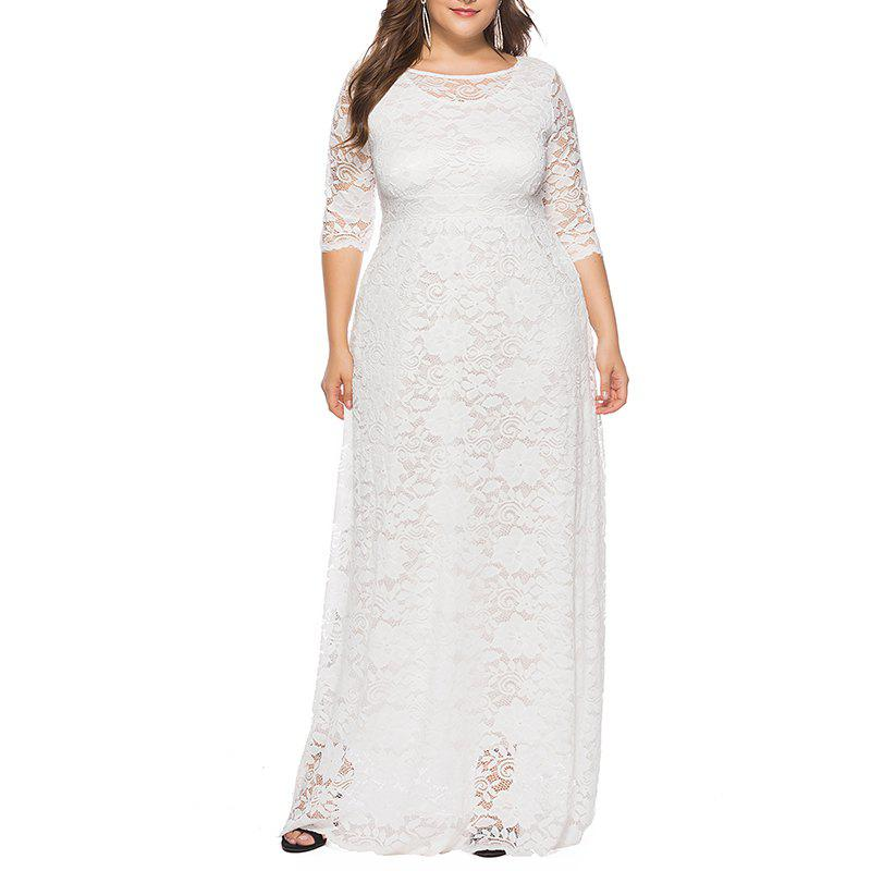 Hollow Out 1/2 Length Sleeve Lace Pocket Party Dress - WHITE 2XL
