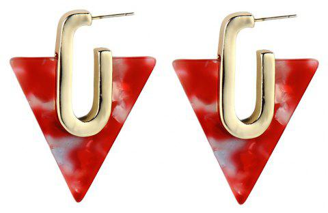 Multi-Colors Geometric Metal U Shape Triangle Resin Drop Earrings For Woman - BEAN RED
