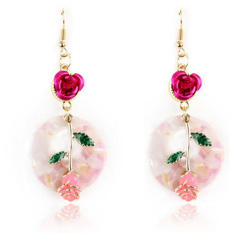 Fashion Alloy Rose Drop Dangle Romantic Delicate Earrings Jewelry For Women - FLAMINGO PINK