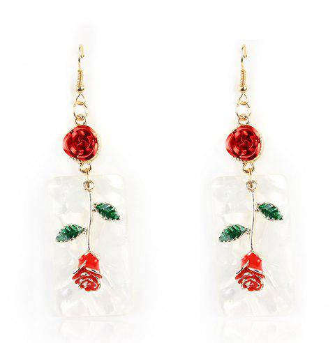 Fashion Alloy Rose Drop Dangle Romantic Delicate Earrings Jewelry For Women - VALENTINE RED