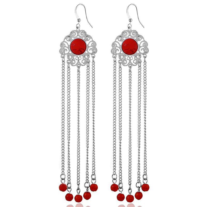 Exquisite Fashion Turquoise Pendant Long Original Tassel Earrings - LOVE RED