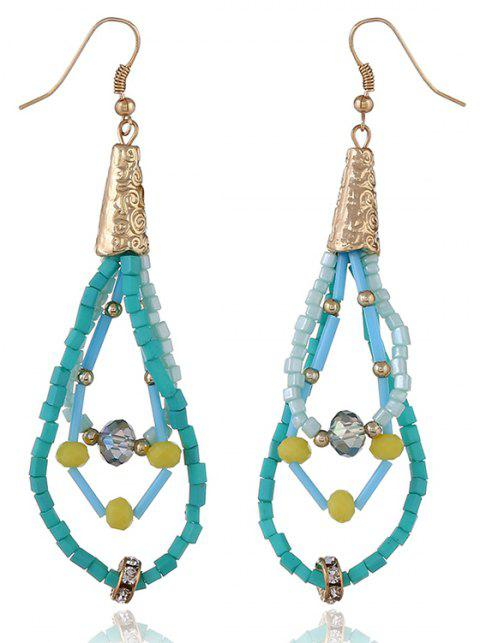 Fashion Beige Beads Three-Layer Bohemian Long Earrings - TURQUOISE