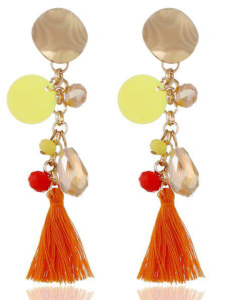 Fashion Drop Crystal Pendant Long Metal Round Fringe Earrings - BRIGHT ORANGE
