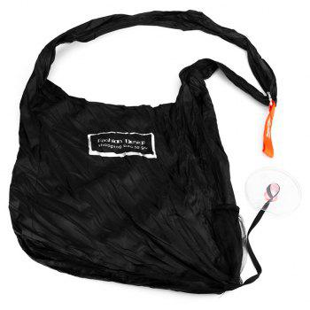 Folding Portable Shopping Bag Small Disc Telescopic Messenger - BLACK