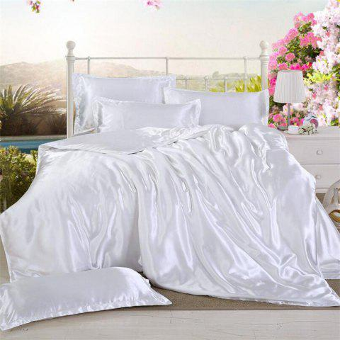 High Quality Solid Color Ice  Silk Four-Piece Set - WHITE TWIN