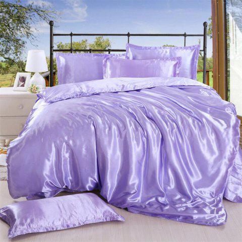 High Quality Solid Color Ice  Silk Four-Piece Set - MAUVE QUEEN
