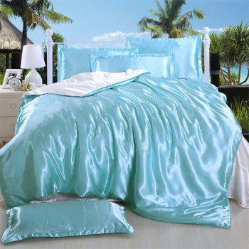 High Quality Solid Color Ice  Silk Four-Piece Set - BLUE DIAMOND QUEEN
