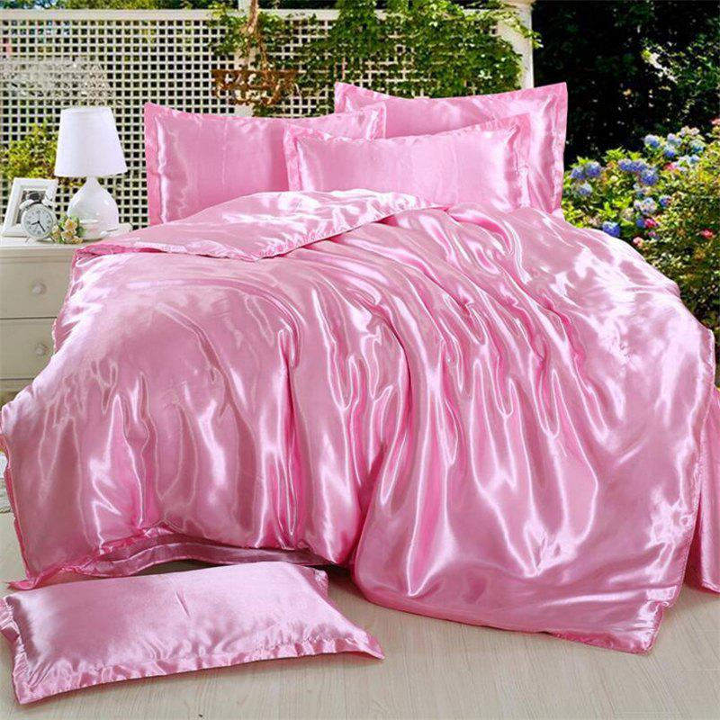 High Quality Solid Color Ice  Silk Four-Piece Set - PINK KING