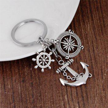 Best Selling Retro Compass Rudder Anchor Keychain - SILVER