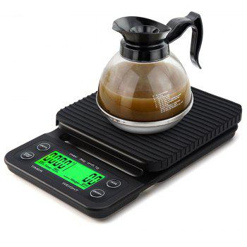 Portable 3KG 0.1g Drip Coffee With Timer Electronic Digital Kitchen Scale - BLACK