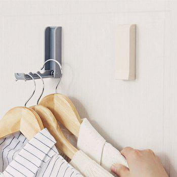 Adhesive Solid Color Multi-Functional Folding Coat Storage Hook - GRAY