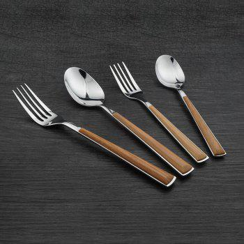 High Quality Wooden Handle Stainless Steel Utensils Forks Spoons Knives Set - SILVER