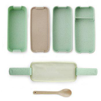 Lunch Box Microwave Food Container Compartments Bento Set - BLUE HOSTA 800 ML