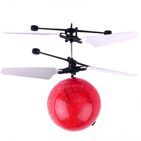 Mini LED Flying Ball Light Crystal Induction Aircraft Jouets Hélicoptère - Rouge