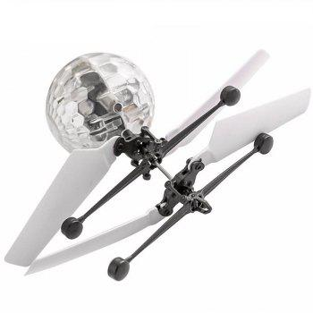Mini LED Flying Ball Light Crystal Induction Aircraft Jouets Hélicoptère - Blanc