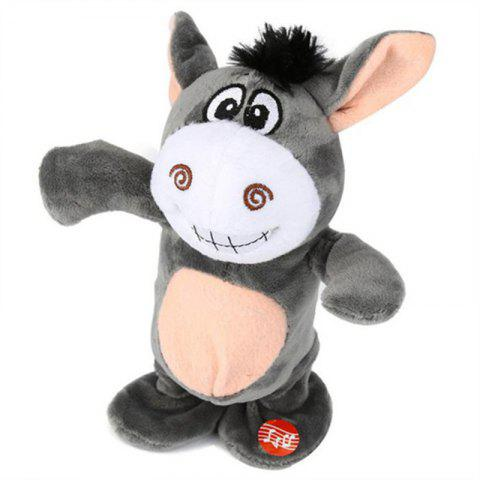 Cute Electric Voice Recording Donkey Can Speak and Talk Interactive Plush Toys - LIGHT GRAY