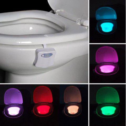 YEDUO 8 Colors Human Motion Sensor Toilet Bathroom Night Light Home Decoration - WHITE