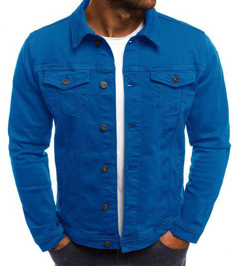 Men's Multi-Color Fashion Casual Denim Jacket - ROYAL BLUE 2XL