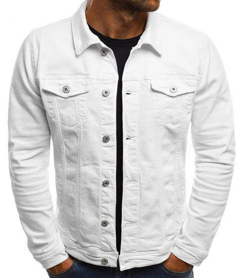 Men's Multi-Color Fashion Casual Denim Jacket - WHITE XL