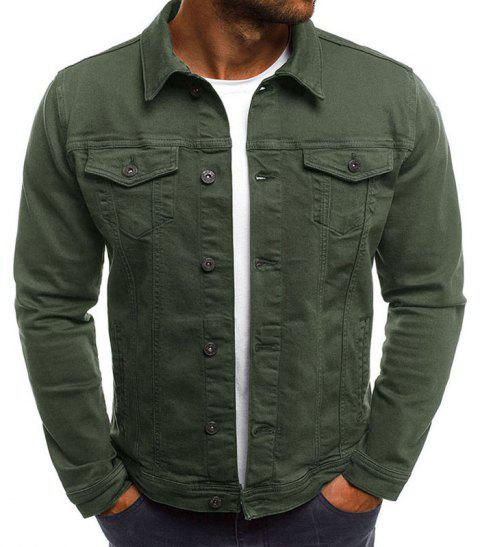 Men's Multi-Color Fashion Casual Denim Jacket - ARMY GREEN L