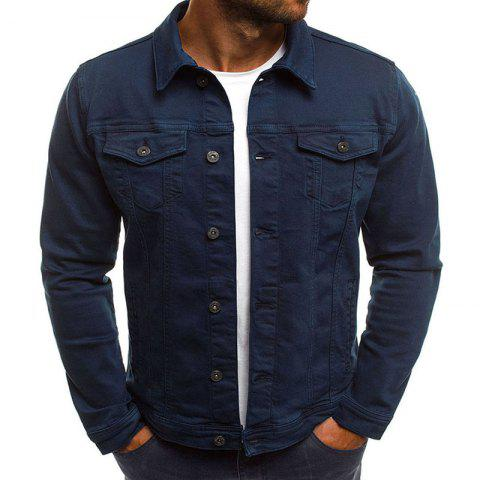 Men's Multi-Color Fashion Casual Denim Jacket - CADETBLUE 2XL