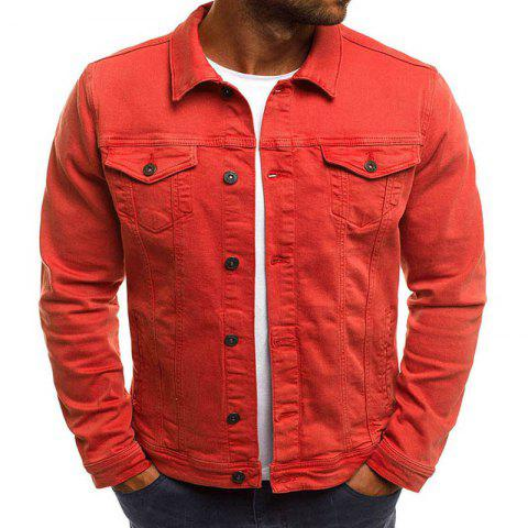 Men's Multi-Color Fashion Casual Denim Jacket - ORANGE M