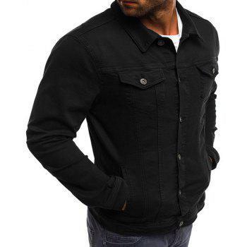 Men's Multi-Color Fashion Casual Denim Jacket - BLACK XL