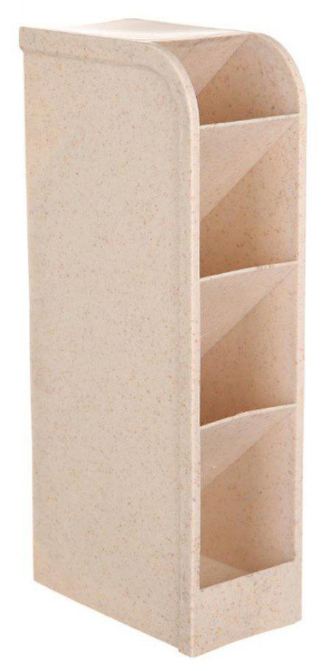 Kitchen Bathroom Desktop Finishing Wheat Straw Four Grid Storage Box - BEIGE