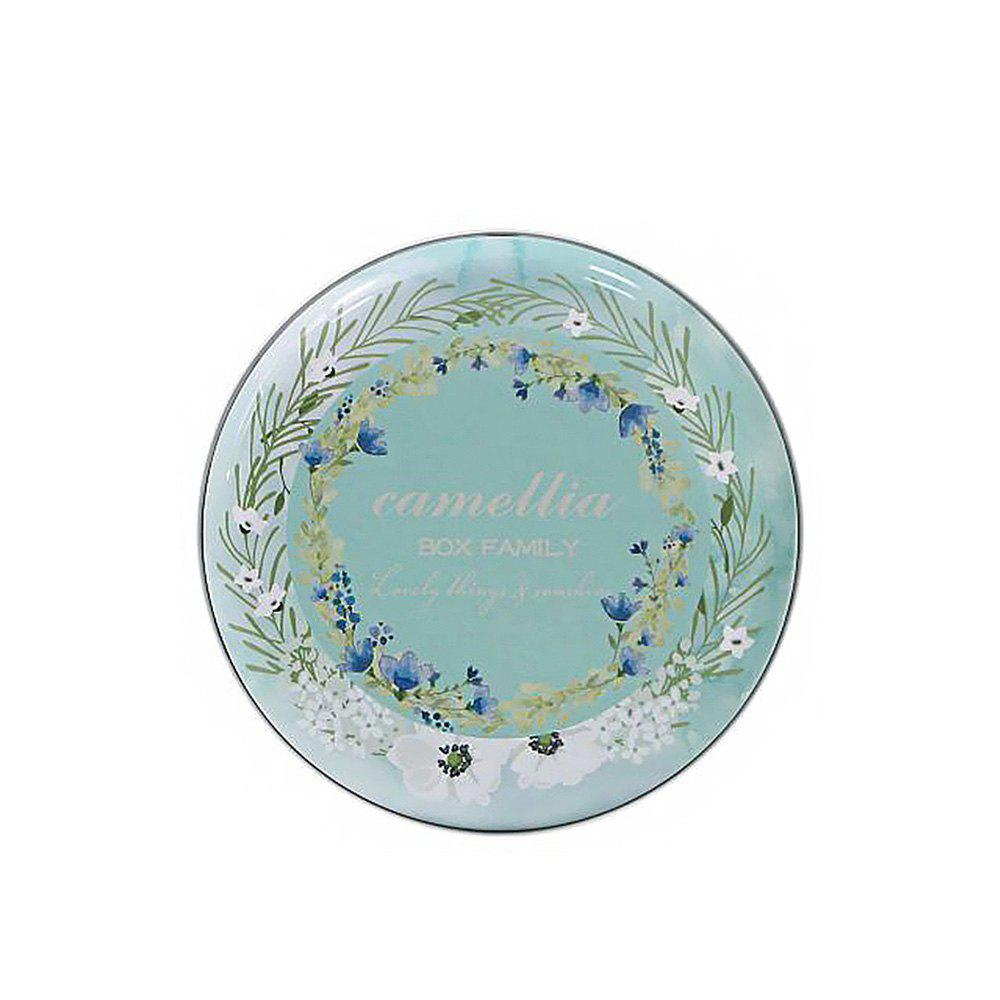 Pastoral Style Floral Pattern Creative Iron Round Storage Box - multicolor C