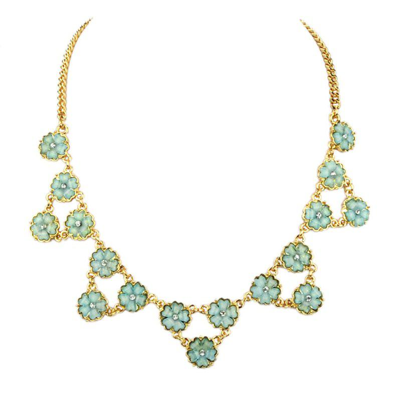 Sweet Metal Chain Rhinestone Flower Necklace for Women - multicolor A
