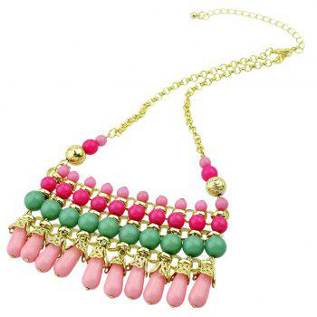 Metal Chain with Beautiful Colorful Bead Pendant Necklace - multicolor