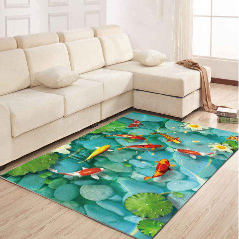 Simple North Europe Style Rug Lotus Pond And Goldfish Pattern - TURQUOISE 160X230CM