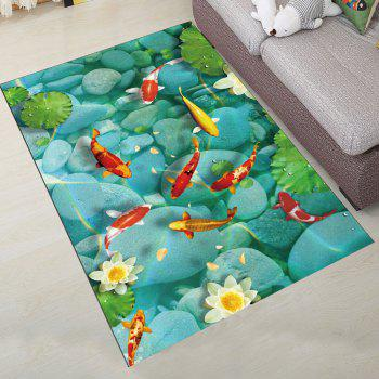 Simple North Europe Style Rug Lotus Pond And Goldfish Pattern - TURQUOISE 40X60CM