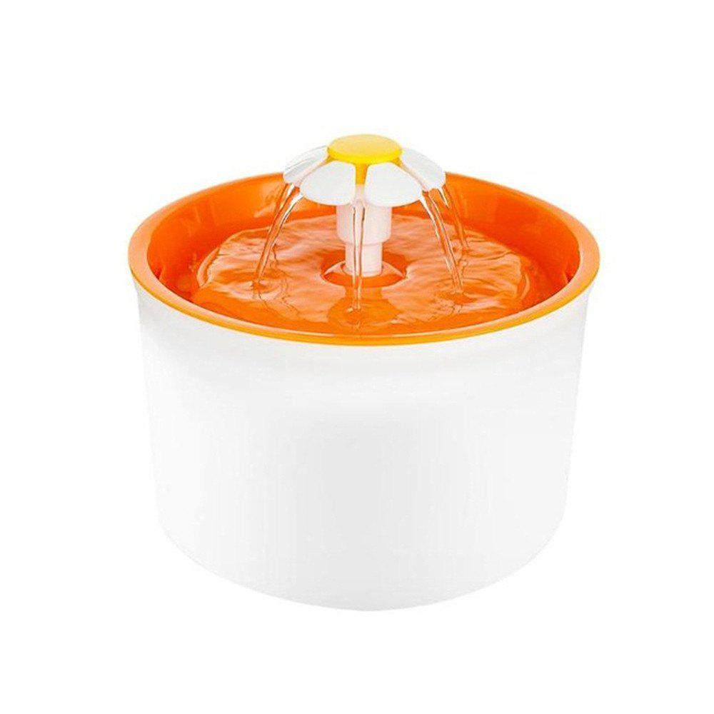 Automatic Pet Drinking Fountains Mute Cat Dog Feeder Bottle Electric Bowl - ORANGE