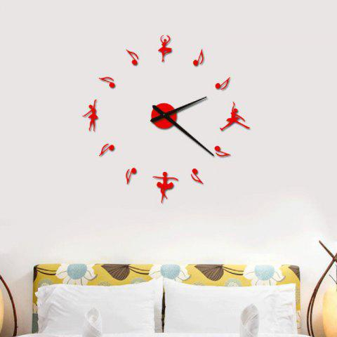Acrylic Mirror Wall Clock Dance DIY Still Life Home Decoration Living - FERRARI RED